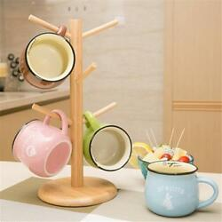 Tree Rack Mug Cup Holder Wood Stand Coffee Tea Storage Wooden Kitchen Display LJ