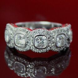 2.75 CT FOREVER ONE GHI MOISSANITE CUSHION HALO MICRO PAVE SEMI ETERNITY RING