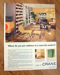 1952 Crane Radiant Baseboard Panel Heating Ad  Radiators in a Modern Room? $3.00
