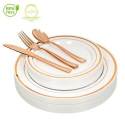 *On SALE* ROSE GOLD Plastic Disposable Plates Silverware 26 guests 130 Pcs $27.00