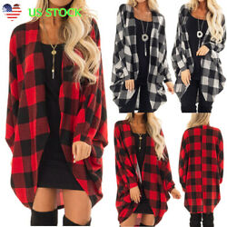 US Womens Plaid Long Sleeve Cardigan Checked Loose Open Front Coat Draped Jacket