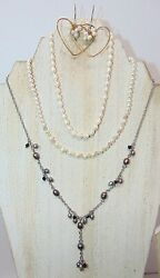JEWELRY LOT OF 3 FRESHWATER PEARL NECKLACES 1 PR EARRINGS PRE-OWNED