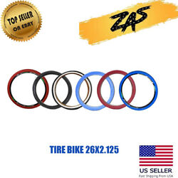 BICYCLE TIRE 26 x 2.125 Black White Red & Blue High Quality Knobby Tire $19.50