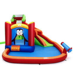 Inflatable Slide Bouncer and Water Park Bounce House Splash Pool Water Cannon