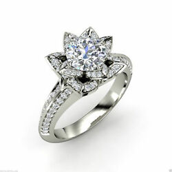 2.15 ct Brilliant Floral Solitaire Diamond Engagement Ring Solid 14k White Gold