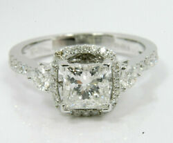 1.74 cts Princess Cut Solitaire Diamond Engagement Ring Solid 14k White Gold