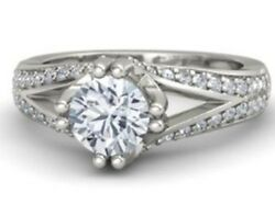 2.22cts Round Cut Solitaire Diamond Engagement Ring Solid 14k White Gold