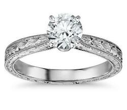 2.0 Ct Solitaire Diamond Engraving Engagement Ring Solid 14k White Gold