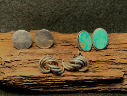 Sterling Silver Earring Stud Lot Of 3 Pairs Cooke  Boma Turquoise?