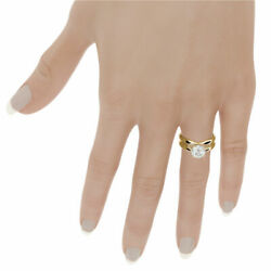 4 PRONG DIAMOND BAND SET RING 14 KARAT YELLOW GOLD SOLITAIRE 2 CT CERTIFIED