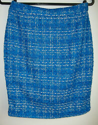 SANDRO BOUCLE TWEED KNIT PENCIL SKIRT BUSINESS WORK blue NEW $29.99