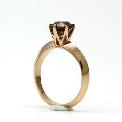 DIAMOND FANCY DARK BROWN RING REAL 2.5 CT 14 KT ROSE GOLD RED VS1 ROUND WOMENS
