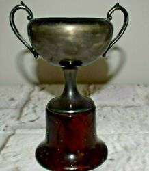 Vintage Wm A Rogers Silver Plated Trophy Cup with Wooden Base 6