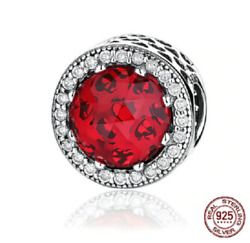 100% 925 Sterling Silver Red Crystal Radiant Hearts Beads Charm pandora