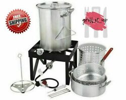 30 Qt Deluxe Aluminum Turkey Deep Fryer Kit Steamer Stock Pot Propane LP Outdoor