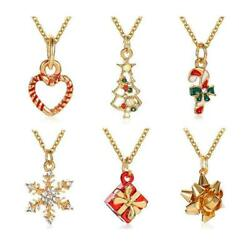 Christmas Necklace Jewelries Snowflake Tree Flower Women Hot Girls Gifts Xm O3W4