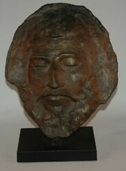 Paul Gauguin bronze death mask with stand