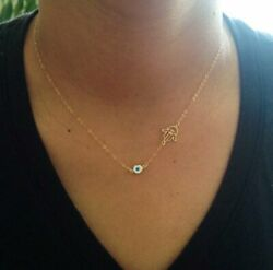 14k Gold Filled Eye of Protection & Hamsa Hand of Fatima Charm Chain Necklace -
