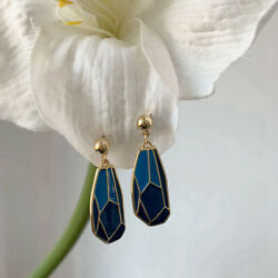 Creative Multi-faceted Women's Drop Oil Earrings Gradient Blue Long Earrings
