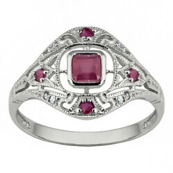 Natural Simple Eternal10k White Gold Vintage Style Ruby jewelry Ring size 6