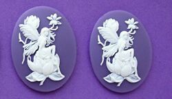 2 WHITE on PURPLE  3D FAIRY and MAGNOLIA 40mm x 30mm Costume Jewelry EMO CAMEOS