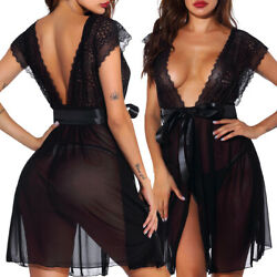 Black Sexy Lingerie Lace Sleepwear Womens Long Dress Deep-V Sheer Robe Underwear