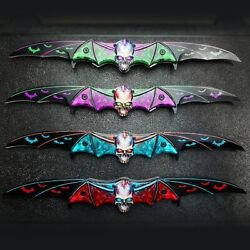 Zombie Skull Tactical Dual Blade Bat Spring Open Assisted Folding Pocket Knife $13.95