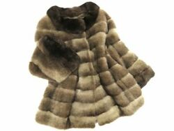 Copenhagen Fur Collar Sleeve Chinchilla x Cross Mink Genuine Fur Design Short