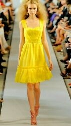 $4200 OSCAR DE LA RENTA GORGEOUS RUNWAY SUNSHINE YELLOW SILK DRESS GOWN US 10