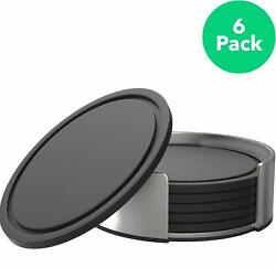 Vremi Drink Coasters Set of 6 with Holder - BPA Free Silicone - Stainless Steel
