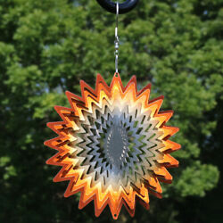 Sunnydaze 3D Orange Star Hanging Whirligig Outdoor Wind Spinner with Hook - 6