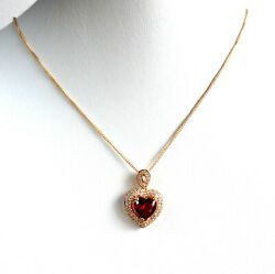 Lady 18K Gold Plated Ruby Red Heart Love CZ Zirconia Crystal Pendant Necklace UK
