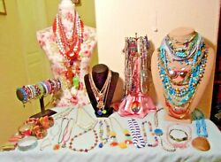 HUGE VINTAGE MOSTLY VIBRANT BOLD COLORS WEARABLE JEWELRY LOT GORGEOUS PIECES