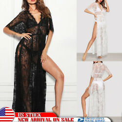 Sexy Lingerie Women's Sexy Long Lace Dress Sheer Gown See Through Robe Sleepwear