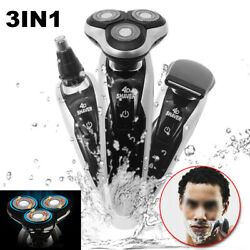 3 in1 Smooth Quick Electric Razor Shaver Waterproof Cordless Rechargeable Rotary