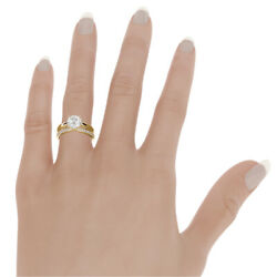 3.28 CARAT SOLITAIRE ACCENTED 14K YELLOW GOLD DIAMOND RING BAND SET 4 PRONG