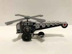 Vintage Miniature Tin Police Helicopter Toy Japan $39.00