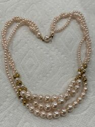 Midwest Estate Auctions Faux Pink Pearl Hidden Clasp Necklace