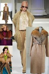 OSCAR DE LA RENTA GORGEOUS  FOX FUR ALPACA MOHAIR WOOL RUNWAY COAT 4
