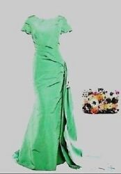 $10.000 OSCAR DE LA RENTA GORGEOUS  SEA GREEN SILK RED CARPET RUNWAY US 12