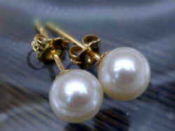 Natural !!! Fashion White 6mm Round South Sea Shell Pearl Earring AAA+