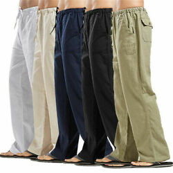 Autumn Mens Casual Cotton Linen Baggy Harem Pants Beach Yoga Hippy Trousers 5XL