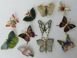 BUTTERFLY Brooch Pin VINTAGE Stone Jade MOP Lot X 11 ALL NICE Free Ship