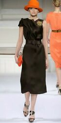 $3000 NEW OSCAR DE LA RENTA GORGEOUS GAZAR ASYM  SILK RUNWAY DRESS US 12