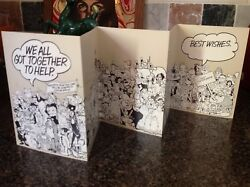 RARE  USA for Africa Greeting Card Comic Characters We All Got Together To Help