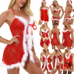 Sexy Lingerie for Womens Christmas Red Santa Fancy Dress Outfit Babydoll US FAST