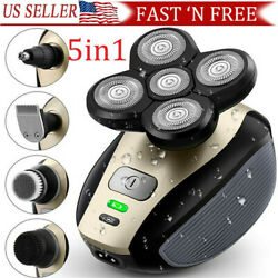 5 IN 1 4D Rotary Electric Shaver Rechargeable Bald Head Shaver Beard Trimmer $25.59