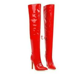 Sexy Women's Patent Leather Over The Knee Boots Stilettos Heel Thigh High Boots