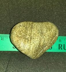 265 NATURAL FORMED HEART SHAPED BEACH ROCK STRIPED STANDS ALONE  LOVE GIFT LUCK
