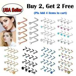 5pc16pc 20G L Shape Nose Ring Studs Stainless Steel CZ Gem Nose Body Piercing $5.99
